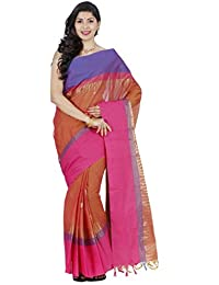 Classicate From The House Of The Chennai Silks Women's Cotton Saree With Blouse Piece (Ccrics236_Raw Sienna)