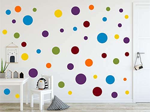 timalo® 120 Stück Wandtattoo Kinderzimmer Kreise Pastell Wandsticker - Aufkleber Punkte | 73078-SET14-120
