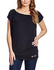 XFORE t-shirt mancherons Ocean Side col cascade chute d'eau en viscose stretch Asymé trique décolleté en bleu foncé