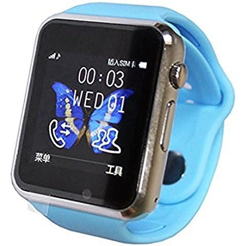 colofan C06Hombres y Mujeres Bluetooth Smart relojes Puede Plug Teléfono Móvil tarjeta Teléfono Cámara Reloj Deportivo podómetro (Azul)