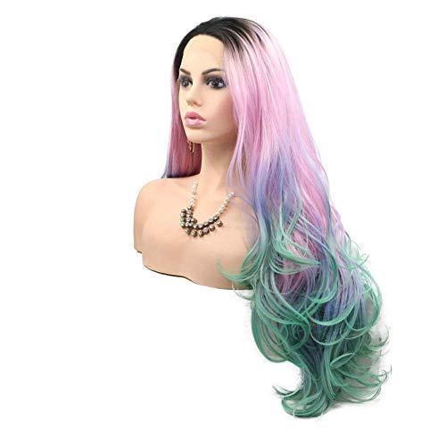 Kostüm Link Heißes Thema - Farbe Perücken, dunkle Wurzeln Ombre rosa lila blau grün synthetische Drag Queen Perücken für Frauen lange gewellte Lace Front Perücke,22in