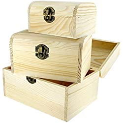 3 Pieces Plain Wooden Jewellery Storage Box Case Natural Treasure Chest