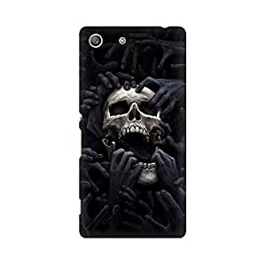 Mobicture Black Skull Premium Printed High Quality Polycarbonate Hard Back Case Cover for Sony Xperia M5 With Edge to Edge Printing