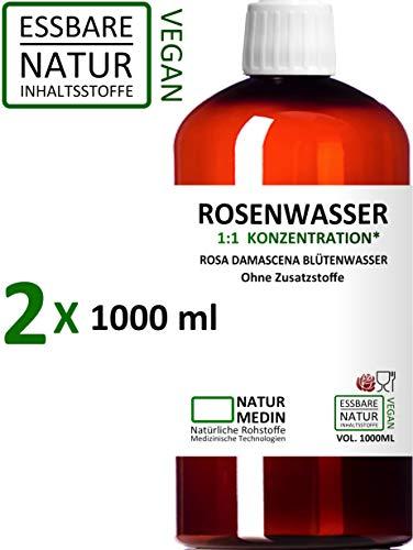 ROSENWASSER 2x 1000-ml Gesichtswasser, 100% naturrein, 1:1 Konzentration, Rosa damascena Blüttenwasser, ohne Zusatzstoffe, PET Braunflasche, 2000-ml (2-l), nachhaltig -