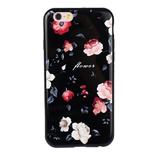 Housse iPhone 6 Plus Doux TPU, Cas iPhone 6S Plus avec Anneau, iPhone 6S Plus Arrière Coque, Moon mood® Motif de fleurs Boîtier de Téléphone pour Apple iPhone 6 Plus 5.5 pouces Case Cover Portable Cou Motif-03(avec support)