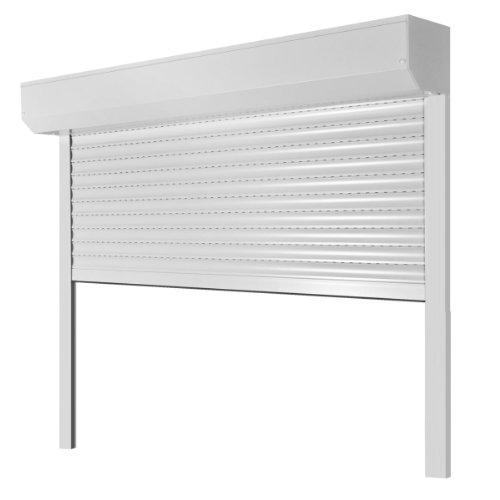 Vorbaurollladen Typ Corner, 39mm Aluminium-Lamelle 100x130cm mit Gurtwickler, Bedienseite: Rechts, (weiß (ähnlich RAL 9010)) als Maßanfertigung