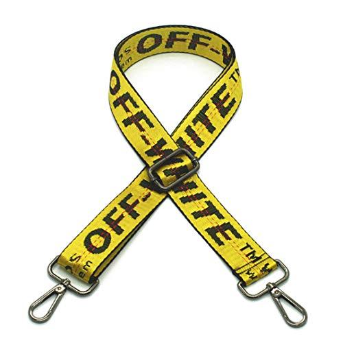 Gestreifte Taschenriemen DIY Tasche Zubehör Teile Ersatz Schultergurte Handtasche Strap Lange Bänder Griff Gold Schnalle KZ1001 Yellow Gun Buckle