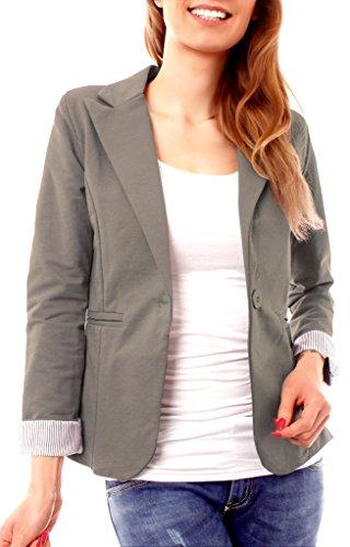 Damen Casual Sweat Jersey Blazer Jacke Sweatblazer Jerseyblazer Sakko Kurz Gefüttert 3/4 Arm Einfarbig Taupe M 38 (L) (Jacke Blazer Taupe)