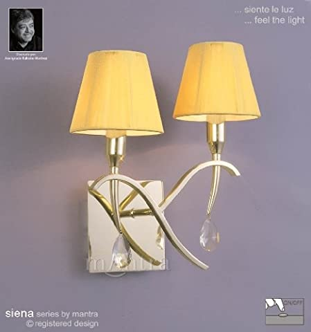 Siena Switched Wall Lamp 2 Light Polished Brass With Amber Silk String Shade And Clear Crystal Switched