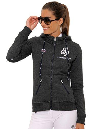 SPOOKS Damen Sweatjacke, Kapuzen-Jacke Mädchen Kinder Frauen, Zipper Hoodie - Sommerjacke bequem & anschmiegsam Awa - Dunkelgrau XL