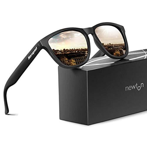 MARSQUEST Sonnenbrille Polarisiert - Original UV400 Modell Newton Unisex Sonnenbrille, Farben, Verspiegelt, UV-Schutz für Herren und Damen (Schwarz)
