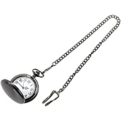 Pocket Watch - TOOGOO(R)Pocket watch quartz men women silver mirror ball black box clip chain