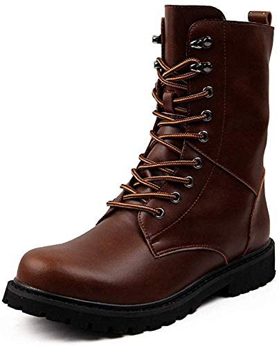 LDTX Military Boots Inglese per i Militari degli Uomini di Cuoio Stivali da Uomo Stivali da Moto Stivali,Brown-42EU