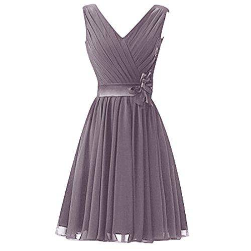 Find Dress Sexy Col en V Robe de Soirée/Cocktail/Cérémonie Robe Demoiselle d'Honneur Lacet en Mousseline avec Fleur Ceinture Gris