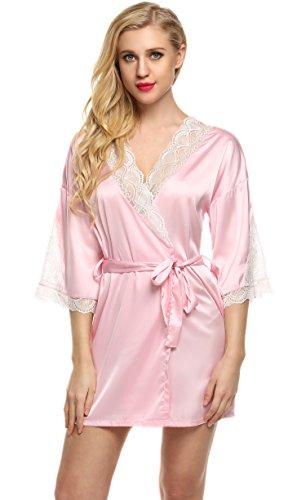 Ekouaer Frauen Sexy Satin Morgenmantel Damen Kurz Nachtwäsche Pyjama Bademantel Hohle Spitze V-Ausschnitt Kimono Schlafanzug (Set Baumwolle Gestreiften Pyjama)