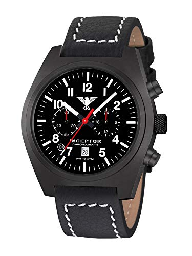 KHS Inceptor KHS.INCBSC.LBB - Cronografo in acciaio con cinturino in pelle di bufalo, colore: Nero