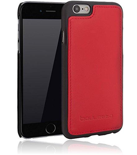 Bouletta - Flex Cover - Apple iPhone 6 / 6S Hülle | Leder+TPU Schutz-Hülle | Handyhülle | Ledertasche | Handytasche | Schutzhülle | Cover | Case | Hülle | bruchfeste Schale (Cognac) Rot