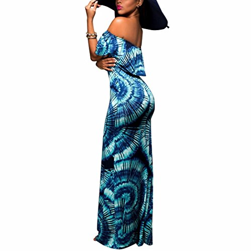 QIYUN.Z Femme Hors-Épaule Falbala Bretelles Maxi Robe Slash Cou Cocktail Longue Robe 0689/Bleu
