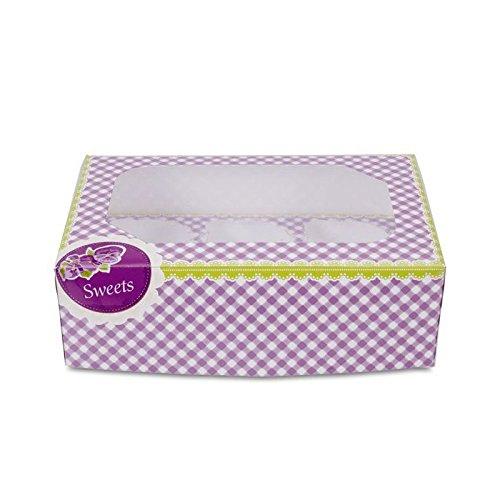 Haus Süßigkeiten Muffin und Cupcake-Box für 6Tassen-Set, Mehrfarbig, 2-teilig