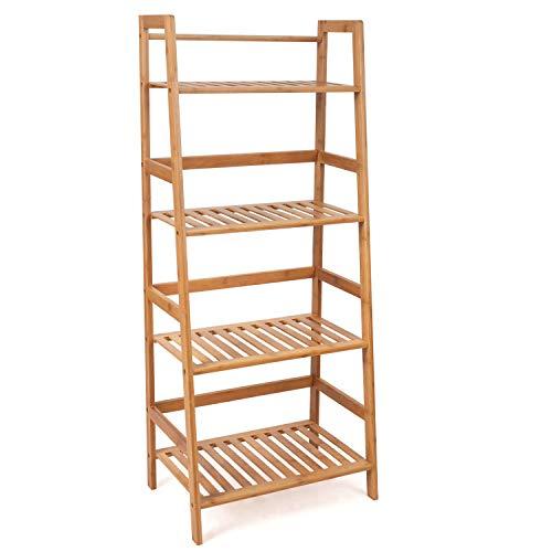 Homfa Bambus Standregal 116x48x32cm Aufbewahrungsregal Bücherregal Küchenregal Leiterregal Badregal Badezimmerregal ohne Bohren Bambusregal Küche Badezimmer