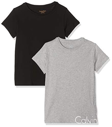 Calvin Klein Mädchen 2PK SS TEES T-Shirt, Schwarz (1 Grey Heather/ 1 Black 090), 140 (Herstellergröße: 8-10) (erPack 2 (Kleine Mädchen-schwarz-sweater)