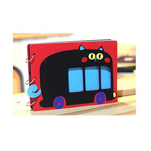 HU Cartoon-Filz-Fotoalbum, Hand-Paste-Sammelalbum, Baby-Wachstum-Gedenkpaar-Reise-Erinnerungen (Color : Red Geek Bus) -