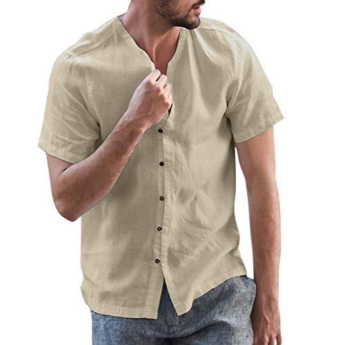 SANFASHION Herren Sommer Baumwolle Leinen T-Shirt V-Ausschnitt Kurzarm Button Leinenhemd Regular Fit Freizeithemd