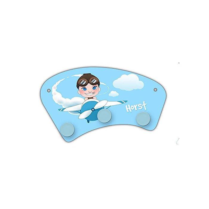 Wand-Garderobe mit Namen Horst und Motiv mit Pilot & Flugzeug für Jungen   Garderobe für Kinder   Wandgarderobe