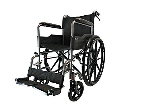 Mag D Pro T Luxus-Rollstühle, faltbar, selbstfahrend, abnehmbare Fußstützen sicher vor Reifenlöcher mit Armlehne und tragbar grau