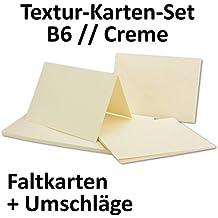 Textur / Struktur Karten Set Inklusive Briefumschläge | 20er Set | Blanko  Einladungskarten In Cremefarben