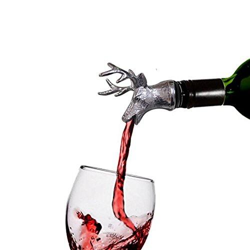 jeyue acero inoxidable 18–8ciervo vertedor de vino tapón de y los aireadores de vino vertedor de vino de cabeza de ciervo
