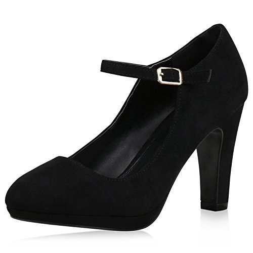 SCARPE VITA Damen Pumps Mary Janes Veloursleder-Optik High Heels Blockabsatz 160326 Schwarz 37