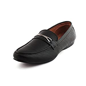 Alestino Men's Leather Looks Loafer Shoes LD14 Black