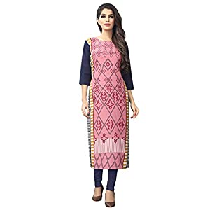 1 Stop Fashion Women's Pink-Coloured Crep Knee Long W Style Kurtas/Kurti