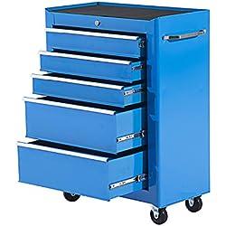 Homcom Servante d'atelier Chariot à Outils Multi-rangements sur roulettes 5 tiroirs verrouillables 62 x 33 x 85 cm Bleu