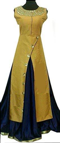 Aryan Fashion Women\'s Taffeta Silk Anarkali Salwar Suit Set (Tghvd10759_Yellow)