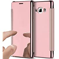 Funda Flip Case Samsung Galaxy J7 2016 de Espejo,SaKuLa Brillante Cristal Cover para Samsung Galaxy J7 2016,Translucent Window View Flip Wallet Stand Shell,Plating Make Up Mirror Galvanoplastia PC Leather Case For Samsung Galaxy J7 2016, Caja del Teléfono Móvil para Samsung Galaxy J7 2016,Luxury Ultra Thin Book Shock Absorbing móvil Protectora Bumper para Samsung Galaxy J7 2016-Espejo de oro rosa
