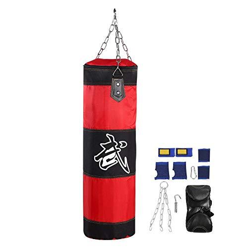 Naroote Leere Training Boxsandsack, Haken Kick Kampf Karate Punch Sandsack mit Handschuhen 7 + 1 Sätze(80CM-rot)
