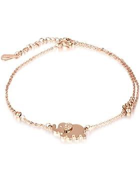 Damen Fußkettchen Rose Gold , Gutcandie Edelstahl doppelte Kette Fußkette mit Cubic Zirkonia Elefant Anhänger...