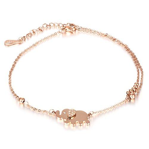 ose Gold, Gutcandie Edelstahl Fußkette mit Strass Elefant Anhänger Sommer Strand FußSchmuck für Frauen Mädchen (Elefant) (A) ()