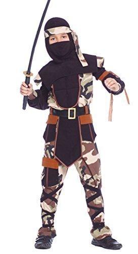 Jungen Camouflage Ninja Warrior Samurai Armee Khaki Military Buch Tag Fancy Kleid Kostüm Outfit - Schwarz, 10-12 Jahre