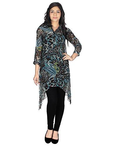 Hazle Avenue Full Sleeve Animal Print Fusion Wear Mao Collar Dress  available at amazon for Rs.406