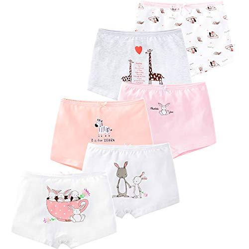 Comfort Hipster Panty (LeQeZe 6er Pack Kinder Mädchen Pantys Unterhose Hipster Mädchen Baumwolle Schlüpfer Unterwäsche Boxershorts Slips 2-11 Jahre Größe 85-145 (Girls Rabbit 04, 4-5Jahre))