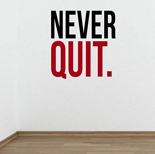 DesignDivil Never Quit Gym Bodybuilding Gewichtheben Wand Aufkleber Motivational Quote-Health und Fitness Kettlebell Gewicht Verlust Ernährung - Inspirational Quotes Wand-aufkleber