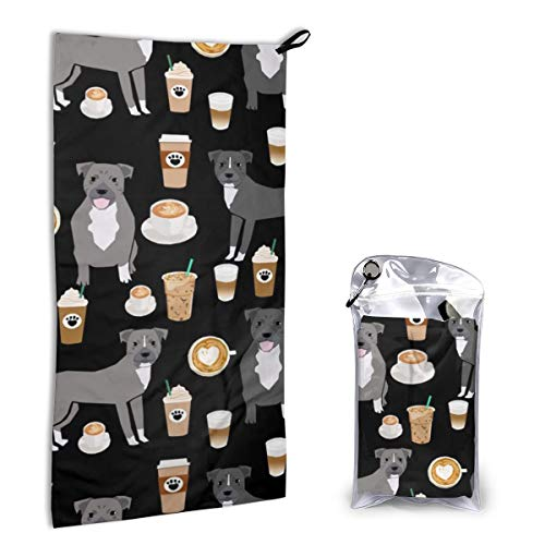 Quick Dry Microfiber Towel Pitbull Grey Coat Coffee Latte Cafe Dog Breed Black for Beach Travel Swim Camping 15.7