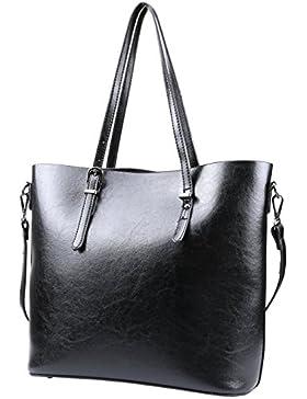 Magic Zone Frauen Retro Leder Schulter Handtaschen Damen Tote Taschen