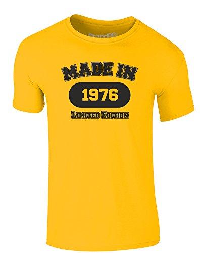 Made in 1976, Erwachsene Gedrucktes T-Shirt - Gänseblümchen-Gelb/Schwarz L
