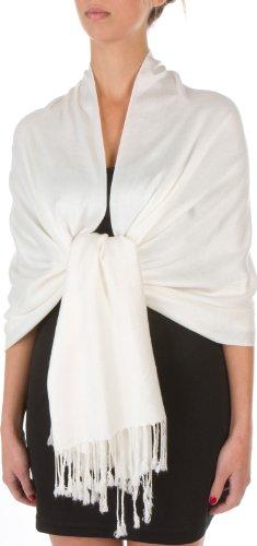 Sakkas 198cm x 71cm Textile Bio Bambou (rayonne) Doux Couleur Unie Pashmina Châle / Echarpe / Etole (12+ Couleurs) Ivoire