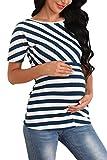 Giorzio Damen Umstandsshirt O-Ausschnitt Still-Shirt Kurzarm Umstands-Top Lagendesign Umstandsmode für Schwangere (Blau,XL)