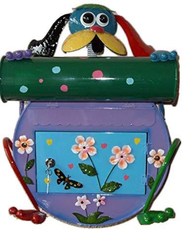 Motiv-Briefkasten aus Metall mit/Ohne Zeitungs-rolle Fach, abschließbar mit 2 Schlüssel Motive Eule Hund Frosch Katze Hexe Metallbriefkasten (Briefkasten Hund) ()